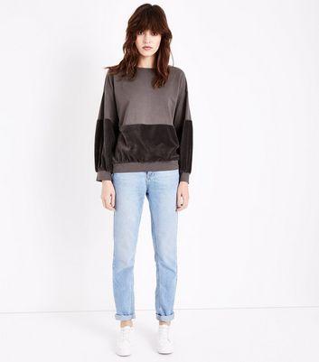 Lulua London Brown Velvet Panel Sweater New Look