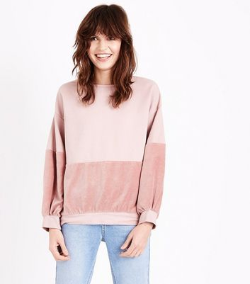 Lulua London Shell Pink Velvet Panel Sweater New Look
