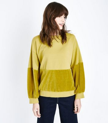 Lulua London Yellow Velvet Panel Sweatshirt