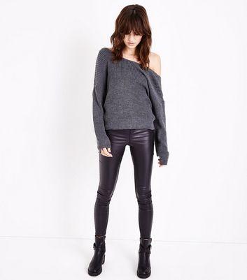 Lulua London Dark Grey Twist Knot Open Back Jumper New Look