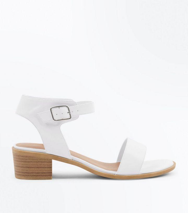 b85d361257d Wide Fit White Low Block Heel Sandals