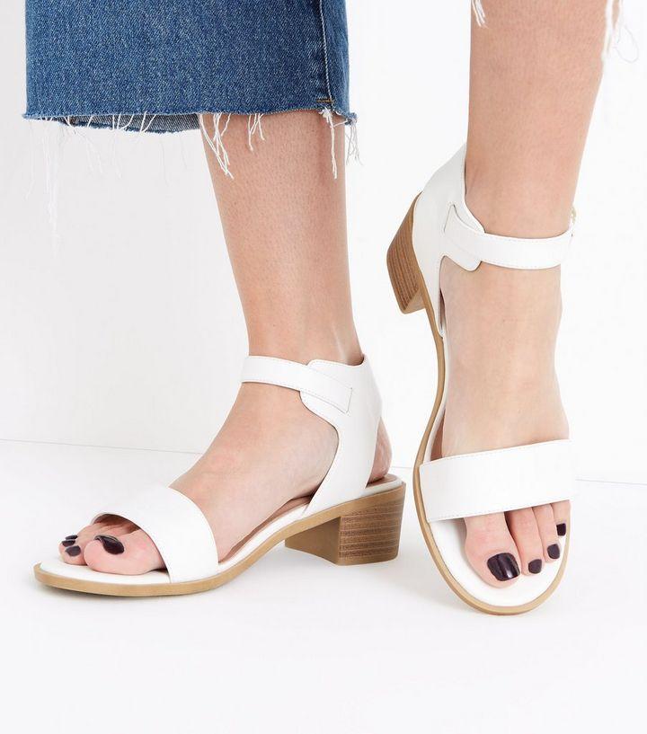 020dc3e8e24 ... Wide Fit White Low Block Heel Sandals. ×. ×. ×. Shop the look