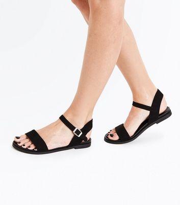 Wide Fit Black Suedette Flat Sandals