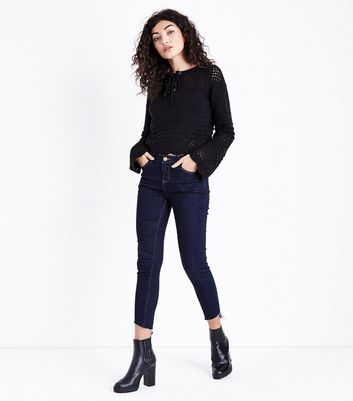 Black Eyelet Lace Up Pointelle Jumper New Look