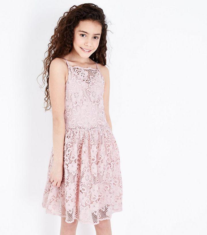 6be3263ba67d Girls Pale Pink Crochet Lace Skater Dress