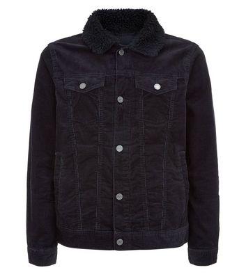 Veste noire en velours côtelé style western avec col effet peau de mouton Ajouter à la Wishlist Supprimer de la Wishlist