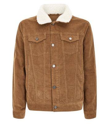 Tan Corduroy Western Jacket With Borg Collar New Look