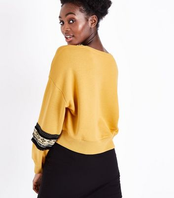 Mustard Yellow Fringed Tape Sleeve Sweatshirt New Look