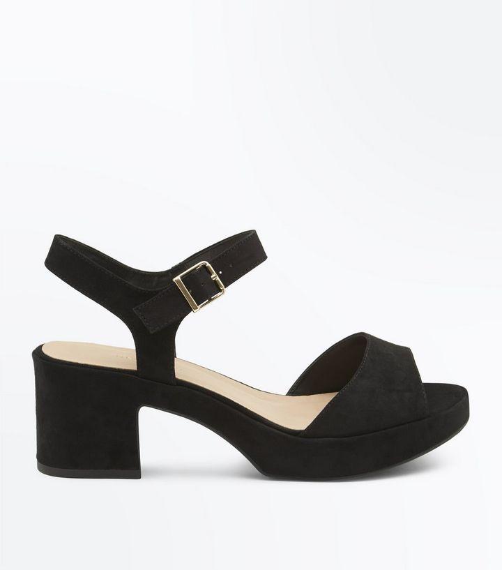 7b5ab233e0 Wide Fit Black Suedette Platform Mid Heel Sandals | New Look