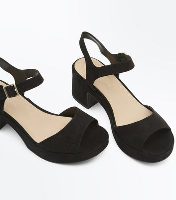 Wide Fit Black Suedette Platform Mid Heel Sandals New Look