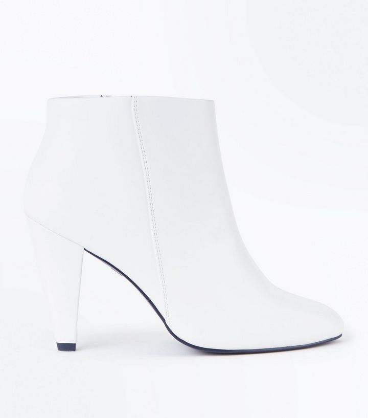 285eac8fb18e Wide Fit White Cone Heel Ankle Boots
