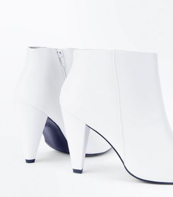Wide Fit White Cone Heel Ankle Boots New Look