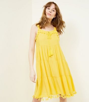 Blue Vanilla Yellow Tassel Trim Dress