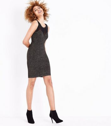 Blue Vanilla Bronze Glitter Textured Bodycon Dress New Look
