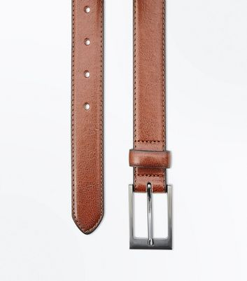 Tan Leather-Look Formal Belt