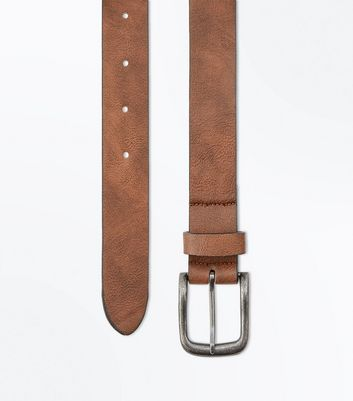 Brown Leather-Look Jeans Belt