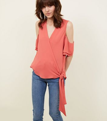 Coral Wrap Front Cold Shoulder Top