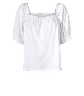 Off White Square Neck Smock Top New Look