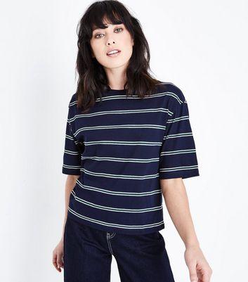 Navy Stripe Boxy T-Shirt New Look