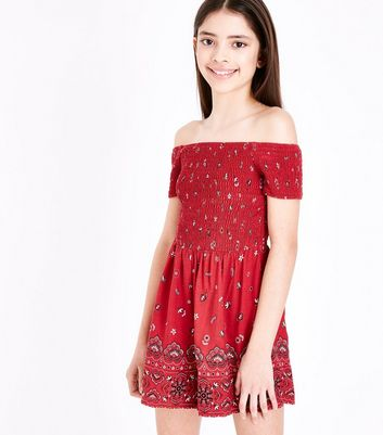 Girls Red Floral Shirred Bardot Playsuit