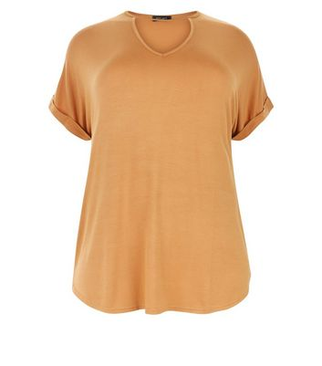 Curves Mustard Yellow Choker Neck T-Shirt New Look