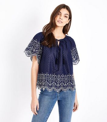 Blue Tassel Front Broderie Top