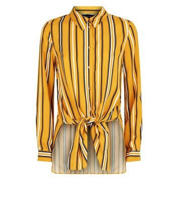 Yellow Striped Long Sleeve Shirt New Look