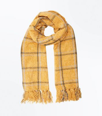 Yellow Check Chenille Scarf New Look