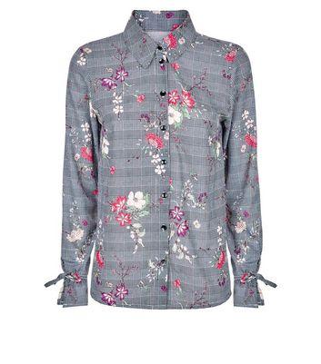 Innocence Black Floral Check Tie Sleeve Shirt New Look