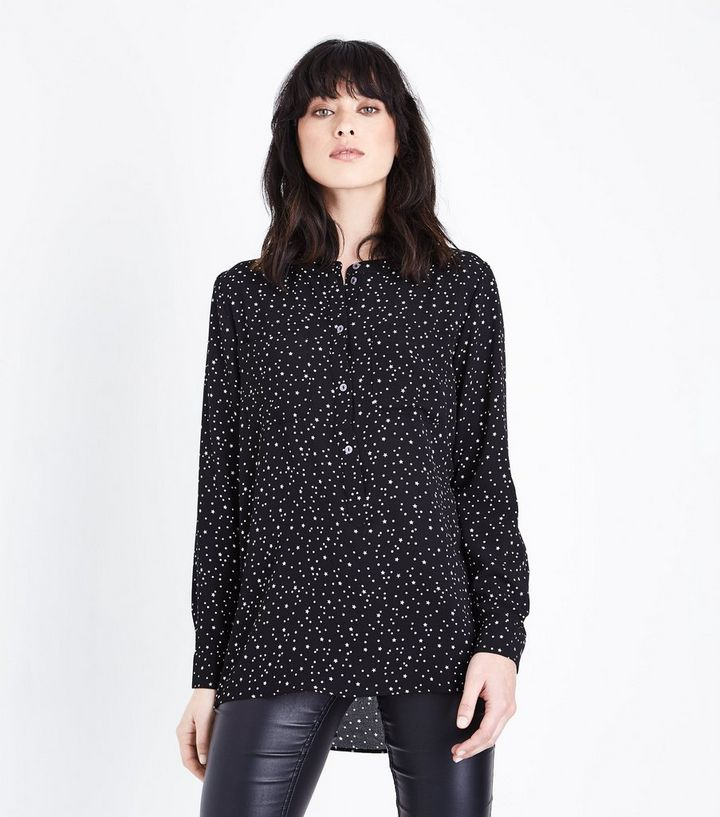53734b8ee7bb JDY Black Star Print Long Sleeve Blouse
