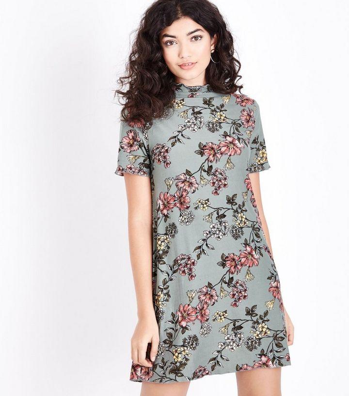 2dbaf5a65914 Olivgrünes, ausgestelltes Kleid mit Blumenmuster und weichem Tragegefühl  Für später speichern Von gespeicherten Artikeln entfernen