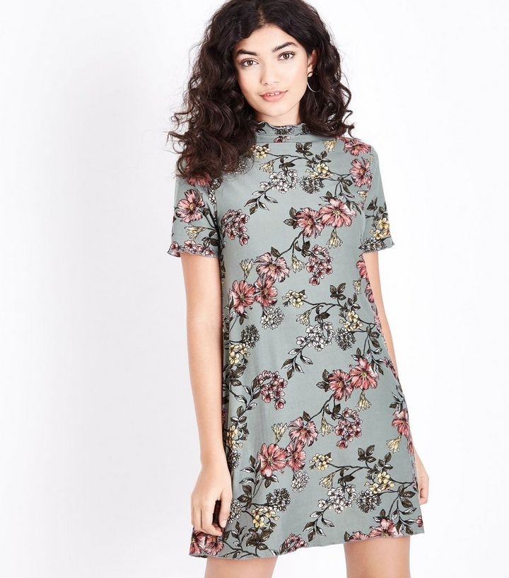 1a73046336c Olive Green Floral Soft Touch Swing Dress | New Look