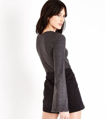 Dark Grey Ribbed Frill Edge Flared Sleeve Top New Look