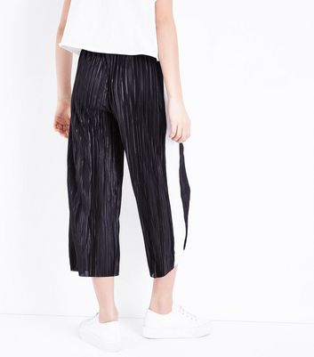 Teens Black Stripe Side Plisse Trousers New Look