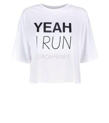 White Caffeine Slogan Sports T-Shirt New Look