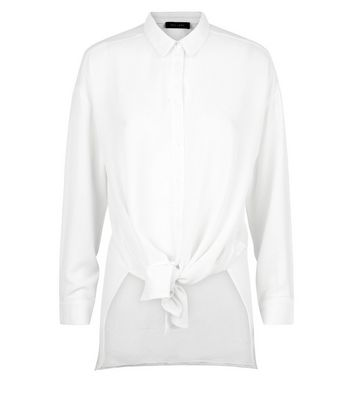 Off White Tie Front Longline Shirt New Look