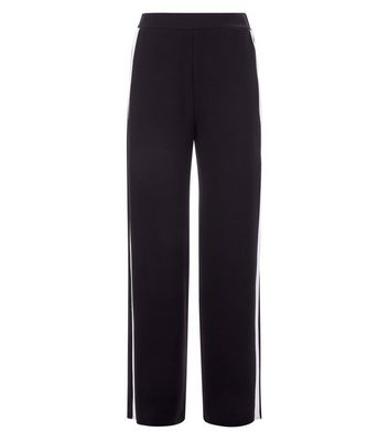 Cameo Rose Black Stripe Side Wide Leg Joggers New Look