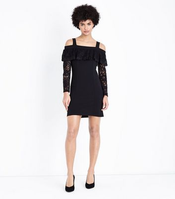 Cameo Rose Black Cold Shoulder Lace Sleeve Dress New Look