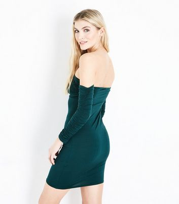 Cameo Rose Dark Green Ruched Sleeves Bardot Neck Dress New Look