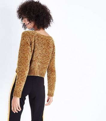 Cameo Rose Mustard Honeycomb Knit Chenille Crop Jumper New Look