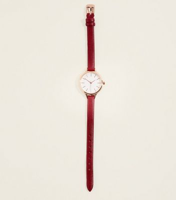 Burgundy Leather-Look Strap Watch