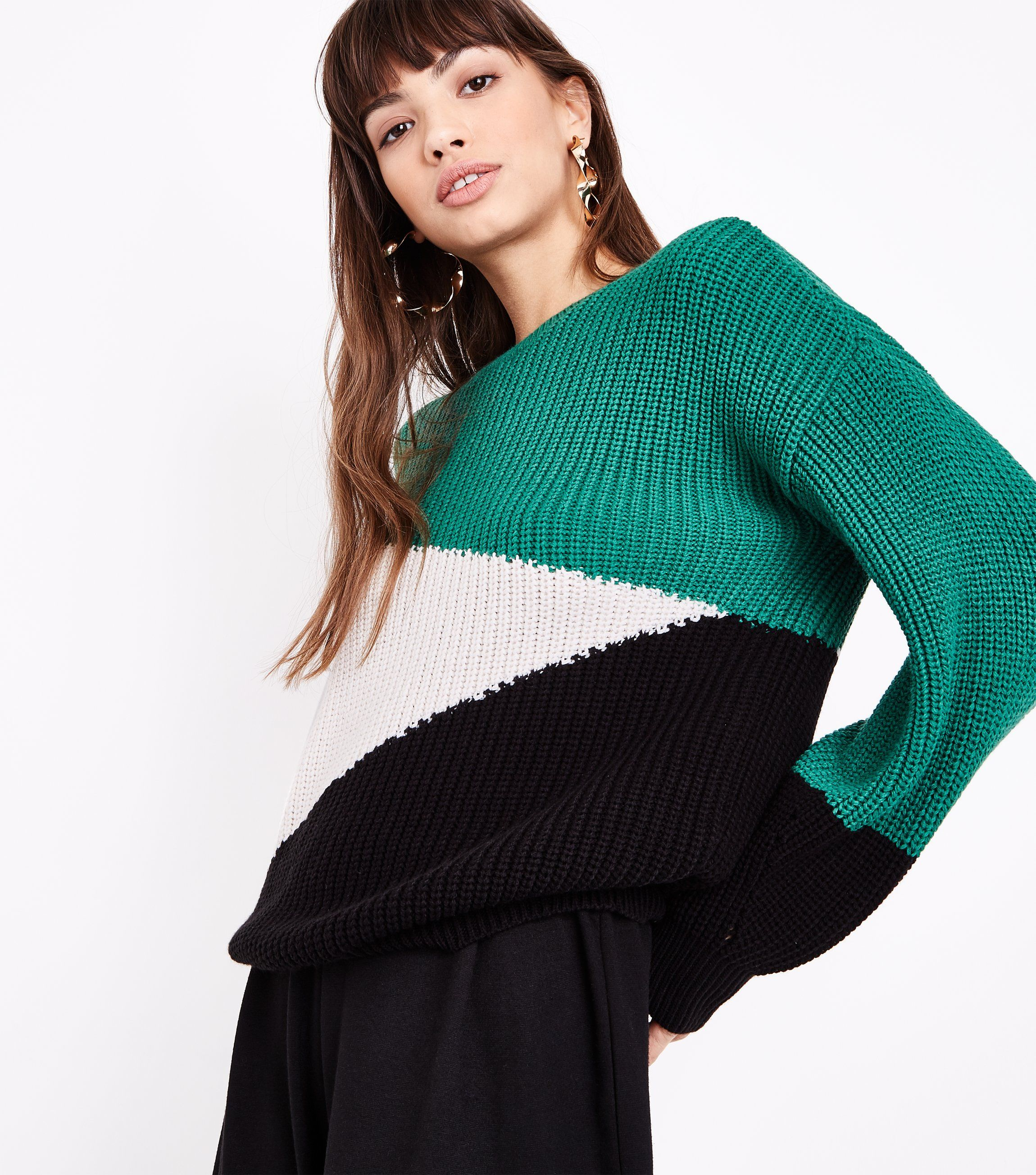 Green Diagonal Colour Block Jumper