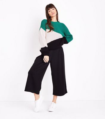 Green Diagonal Colour Block Jumper New Look