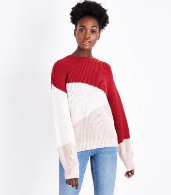 Red Diagonal Colour Block Jumper New Look