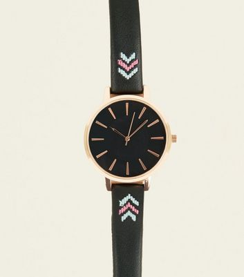 Black Chevron Embroidered Strap Watch