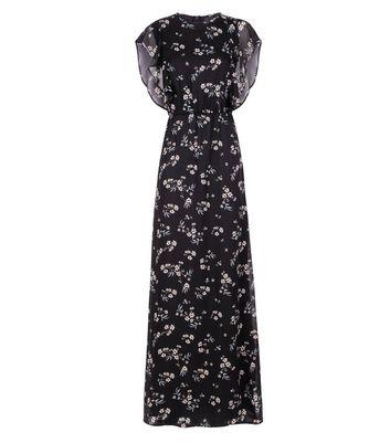 Mela Black Floral Frill Sleeve Maxi Dress New Look