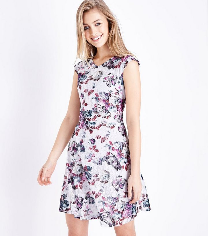 3f1ea09160 Mela White Floral Lace Skater Dress