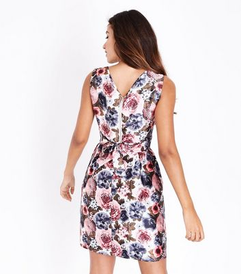Mela Pink Floral Print Prom Dress New Look