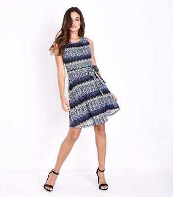 Mela Blue Glitter Lace Sleeveless Dress New Look