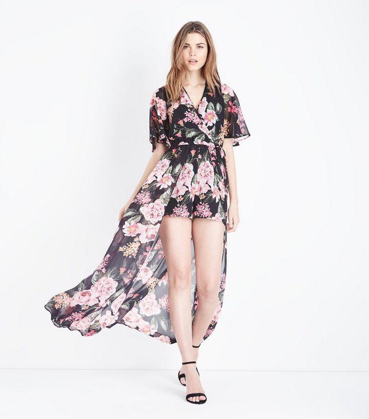 fe61dd8a20ed Black Floral Wrap Front Dip Hem Maxi Playsuit   New Look